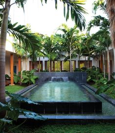 Modern Tropical Courtyard    This retreat blurs the boundaries between outside and inside. A covered wooden walkway surrounds the interior courtyard, linking all the rooms that open onto it. Lush greenery and stately Royal palms frame the slate-lined reflecting pool and fountain.
