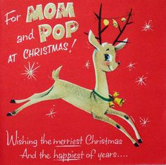 #1640 50s Norcross Leaping Glittered Deer-Vintage Christmas Card-Greeting