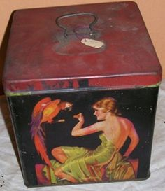 "Art Deco Womon with Parrot Tin""Pin-up Girl"""