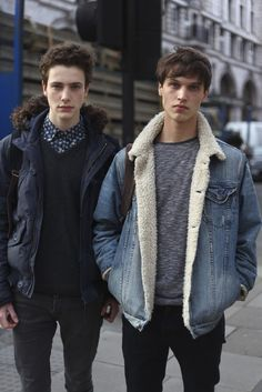 I love both these styles of coats; firstly to the left we have a fur collar Parker - you cant really go wrong with this style jacket, perfect for stylish guys who wants that quirky edge. On the right - a fur lined and collar denim jacket, personally I love a guy in a denim jacket showing off the authentic feel, vintage is everything.