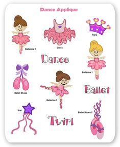 Dance Embroidery Applique Designs Ballet Shoes