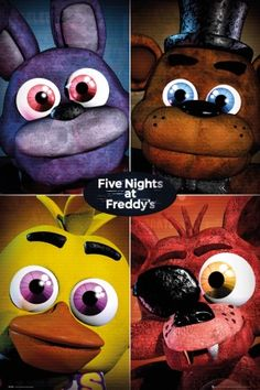 Five Nights at Freddys Quad Maxi Poster <<<< OMG SOOOOO CUTE I LOVE THE PLAUSH VERSIONS OF THE CHARACTERS