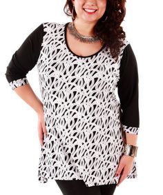 Love this Black & White Geo Scoop Neck Tunic - Plus by Aster on #zulily! #zulilyfinds