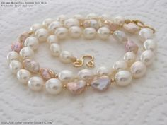 AAA White Rice Rainbow Gold Keshi Freshwater Pearl Necklace