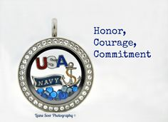 Are you or do you know a proud Navy wife, mother or sailor? Create an Origami Owl locket, watch, bracelet or ring and wear it proudly. Find this locket, charms and many other items at www.lianesoer.origamiowl.com #OrigamiOwl #USNavy #Navy #locket #AnchorsAweigh #HonorCourageCommitment