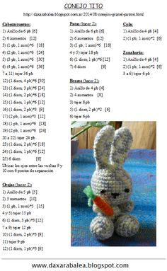 My eye has been drawn to crochet bunny patterns over and over lately- probably because it is starting to show signs of spring! Amigurumi Kawaii Bunny - FREE Crochet Pattern / Tutorial in Spanish - Salvabrani Ravelry: Jenny the Bunny, free Discover thousan Easter Crochet Patterns, Crochet Bunny Pattern, Crochet Amigurumi Free Patterns, Crochet Bear, Crochet Stitch, Crochet Dolls, Filet Crochet, Diy Crafts Crochet, Diy And Crafts Sewing