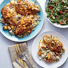 Peach-Glazed Chicken with Peach-Studded Bulgur Dinner Tonight from Cooking Light, Serve with: Arugula, Tomato, and Almond Salad
