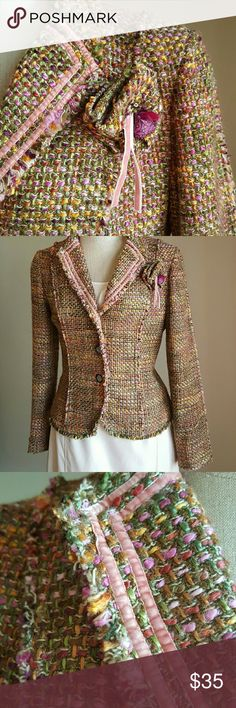 """THE LIMITED MULTI-COLORED TWEED BLAZER This beauty will make you happy just by looking at it! Gorgeous details make this a stunner. Lapels feature soft pink velvet and unfinished hems. Sweet little fabric """"rose"""" pinned near shoulder. 3-button closure looks amazing when open as well. Lined in a beautiful fuschia sateen fabric, same pattern that forms the heart of the rosebud. Sz. M. The Limited Jackets & Coats Blazers"""