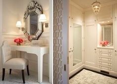 white silver taupe venetian mirror for vanity area and love closet entry.