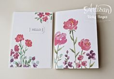 Welcome to my team - Stampin' Up Artisan blog hop, Notebook & card, Painted Petals stamp set, Painted Blooms DP