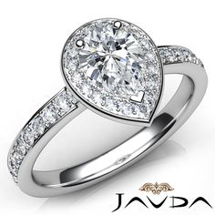 Stunning Pear Diamond Engagement Pave Set Ring GIA E VS1 Platinum 950 1 17ct | eBay