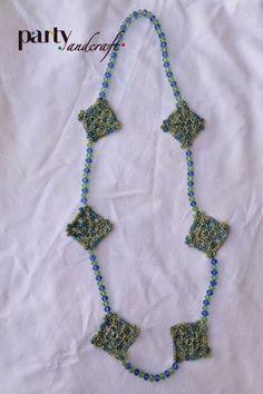 Crochet necklace Swarovski and cotton @Partyandcraft
