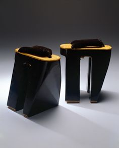 Nimaiba geta (courtesan's clogs), late 19th century Wood, straw, velvet, lacquer Japan. This is a pair of tall wooden, black lacqered clogs with a light straw top and a velvet strap. Only elite courtesans wore high, lacquered clogs, designed to bestow impressive stature. Known in Edo (Tokyo) as oiran, these courtesans were confined to their walled pleasure districts and wore the clogs only to parade a short distance as they went to meet their clients.