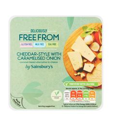Delicious coconut oil based cheddar cheese available from @sainsburys Gluten Free✅ Milk Free ✅ Egg Free ✅ This definitely deserve a… Uk Supermarkets, Dairy Free, Gluten Free, Vegan Products, Sainsburys, Caramelized Onions, Egg Free, Cheddar Cheese, Coconut Oil
