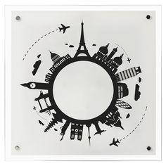 Cristal para el montaje de un plafón cuadrado de 40 x 40 cm en color blanco y negro, junto con la base Young. Bombillas no incluidas.