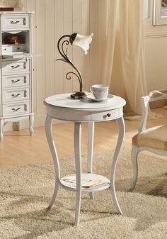 tavolino shabby con maniglia in metallo, color bianco antico