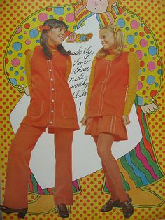 clothes from the 60s... i was in the 4th grade before girls were allowed to wear pants to school! they let us start that winter because it was unusually cold. we could only wear them IF we wore a dress - long top (like the one on the left)  Loved the fat hair yarn!