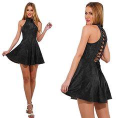f4a3dfc34f JeVenis Women Sexy Dress Suede Plunge Lace Detail Bodycon Dress Party Club Mini  Dress (L