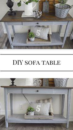 Gray Sofa Table | Farm Fresh Homestead. DIY furniture. Farmhouse style