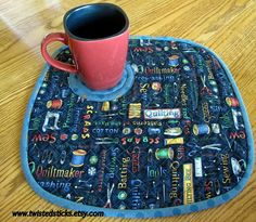 Quilted Placemats Snack Mats Sewing theme  Set of by twistedsticks,