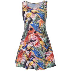 Colorful Peacock Printed Round Neck Plus Size Shift Dress ($28) ❤ liked on Polyvore featuring dresses, plus size day dresses, print shift dress, pattern dress, womens plus dresses and colorful print dresses