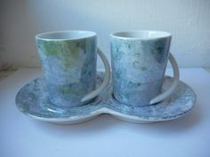 vintage signed Limoges double demitasse cup and saucer