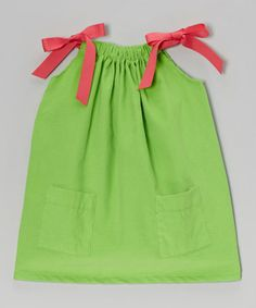 This Lime Corduroy Tie Dress - Infant, Toddler & Girls is perfect! #zulilyfinds