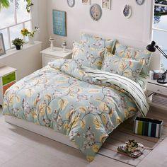 Smile / bedding set kids Cotton bed sheet +duvet cover + pillowcases full queen / super king size bedding for girls Blue Comforter, Green Bedding, Full Duvet Cover, Duvet Covers, Cover Pillow, Green Bed Linen, Art Studio At Home, Cheap Bedding Sets, Bedclothes
