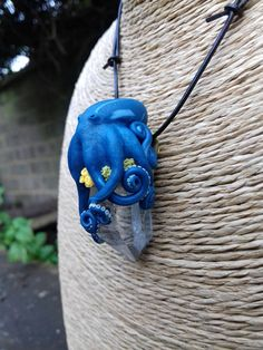 OOAK handmade Polymer clay octopus pendant by SoulCraftHandmade