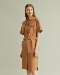 Short sleeve shirt dress with chest pocket and self belt. Top Stitching, Summer Shirts, Summer Sale, Cool Suits, Designing Women, Short Sleeves, Dresses For Work, Shirt Dress