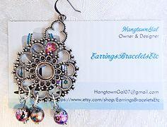 Statement earrings dotted antique silver by EarringsBraceletsEtc
