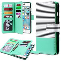 Amazon.com: iPhone 6 Plus Case, iPhone 6s Plus Case, ULAK Premium [Card Slot] Magnetic Hybrid Flip Wallet Case Cover For Appple iPhone 6 Plus and iPhone 6s Plus 5.5inch Devices (Minimal Mint Stripes): Cell Phones & Accessories