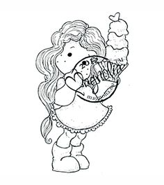 With Love Cling Stamp-Tilda With Big Ice Cream
