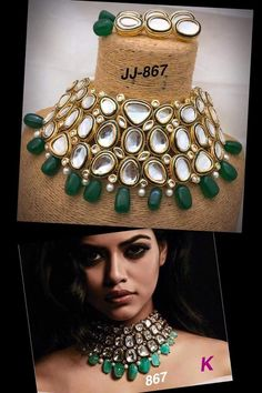 All of our Kundan Jewelry is handmade with ancient Kundan stone setting method using silver foils. Order Indian Traditional Green Gold Plated Kundan Pearl Choker Necklace With Earrings on www. Indian Bridal Jewelry Sets, Indian Jewelry Earrings, Fancy Jewellery, Jewelry Design Earrings, Diamond Initial Necklace, Pearl Choker Necklace, Necklace Set, Wedding Jewellery Inspiration, Lehenga Jewellery