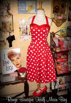 ~ has pockets! - halter with sweetheart neck - Falls below the knees - flattering waist line -stretch cotton and spandex - zipper in back - bow in front Small bust waist Medium bust waist Large bust waist Fifties Fashion, Fashion History, Red And White, Polka Dots, Cotton, Clothes, Vintage, Dresses, Design