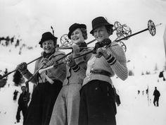 Three visitors to St. Moritz, the popular Swiss Winter sports resort, wearing Tyrolean hats. Around Get premium, high resolution news photos at Getty Images Ski Set, Vintage Ski Posters, Ski Bunnies, Ski Fashion, Sporty Fashion, Fashion Women, Winter Fashion, Winter Fun, Winter Time