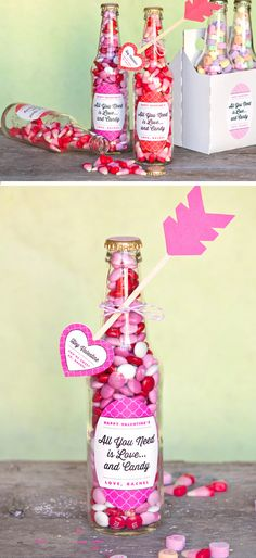 Valentine Candy Bottles & DIY Heart Arrows | Click Pic for 38 DIY Valentine Gifts for Him | DIY Valentine Gifts for Boyfriend