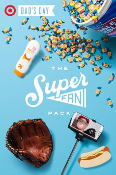 Who's on first? You'll be with the Super Fan Pack, one of the many gifts in the Packs for Pops Father's Day collection. Head to the game with all of the goods this pack has to offer – a Franklin Baseball Glove and a ShutterStick Selfie Stick to document the big catch, up & up Sunscreen and a tub of Double Bubble bigger than your head.