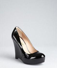 Pour la Victoire black patent leather 'Ivonne' wedge pumps