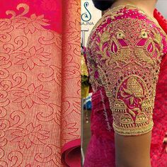 Gorgeous pink color bridal designer blouse with heavy peacocks jumkhis hand embroidery gold thread and zardosi work. Wedding Saree Blouse Designs, Pattu Saree Blouse Designs, Half Saree Designs, Blouse Designs Silk, Kids Blouse Designs, Stylish Blouse Design, Indie, Bollywood, Work Blouse