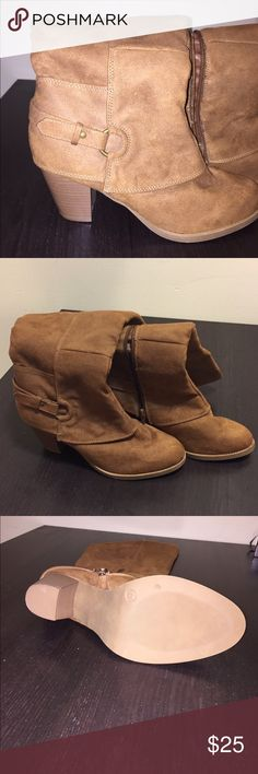 Light brown boots 👢 REPOSH. My calf's were too big for these. 😪 I'm sad because this is a really nice pair of boots that appear to have never been worn!  Shoes say from Target. I believe brand is Mossimo, however it doesn't say. Mossimo Supply Co. Shoes Heeled Boots