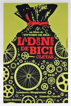 Vintage movie poster from Cuba, advertising a 1948 Italian film Bike Poster, Poster Ads, Movie Poster Art, Typography Poster, Graphic Design Typography, Design Poster, Art Design, Vintage Movies, Vintage Posters