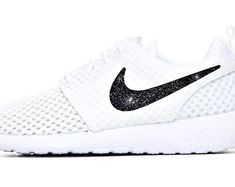 Women& Nike Glitter Roshe One in Pure White w/ Galaxy Black Glitter Swoosh - Custom Nike Bling - Sparkle Shoes - Bling Sneakers Sparkle Shoes, Bling Shoes, Mother Day Gifts, Gifts For Mom, Perfect Gift For Mom, Roshe, Black Glitter, Pure White, Nike Free