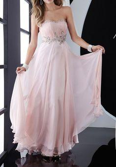 Chiffon Strapless Column Long Prom Dress - Prom - WHITEAZALEA.com