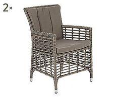 Set di 2 sedie in polyrattan Edward - 57x86x62 cm