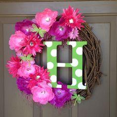 Spring Initial Wreath - Custom made for you! ;)