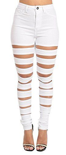 New Trending Denim: xiaoming Womens Sexy Ripped Hole Skinny Fit White Leggings Party Denim Pants. xiaoming Women's Sexy Ripped Hole Skinny Fit White Leggings Party Denim Pants   Special Offer: $33.75      122 Reviews Notes:1.Asian size,we suggest you choose one size up;2.Color differences allowed for light effects;3.Shipped by USPS,takes 8-15 days for delivery. Size...