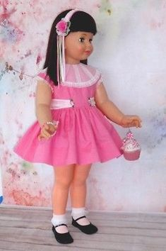 Repro-Design-SPRING-PINK-PARTY-DRESS-for-Ideal-PATTI-Playpal Pink Party Dresses, Flower Girl Dresses, Wedding Dresses, Doll Clothes, Harajuku, Dolls, Spring, Ebay, Design