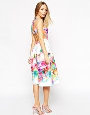 ASOS Digital Floral Placed Racer Back Dress