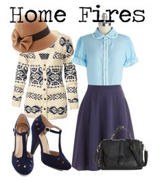 """1940s // home fires inspired"" by onceuponanovel ❤ liked on Polyvore featuring Fat Face, Myrtlewood, women's clothing, women, female, woman, misses and juniors"